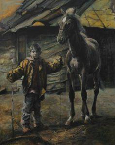 Ciganyfiu loval (200x130 cm, olaj, vaszon, 2006)